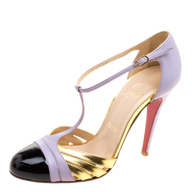 4746a21c540b Buy Christian Louboutin Tricolor Leather Gino T-Strap Pumps Size ...