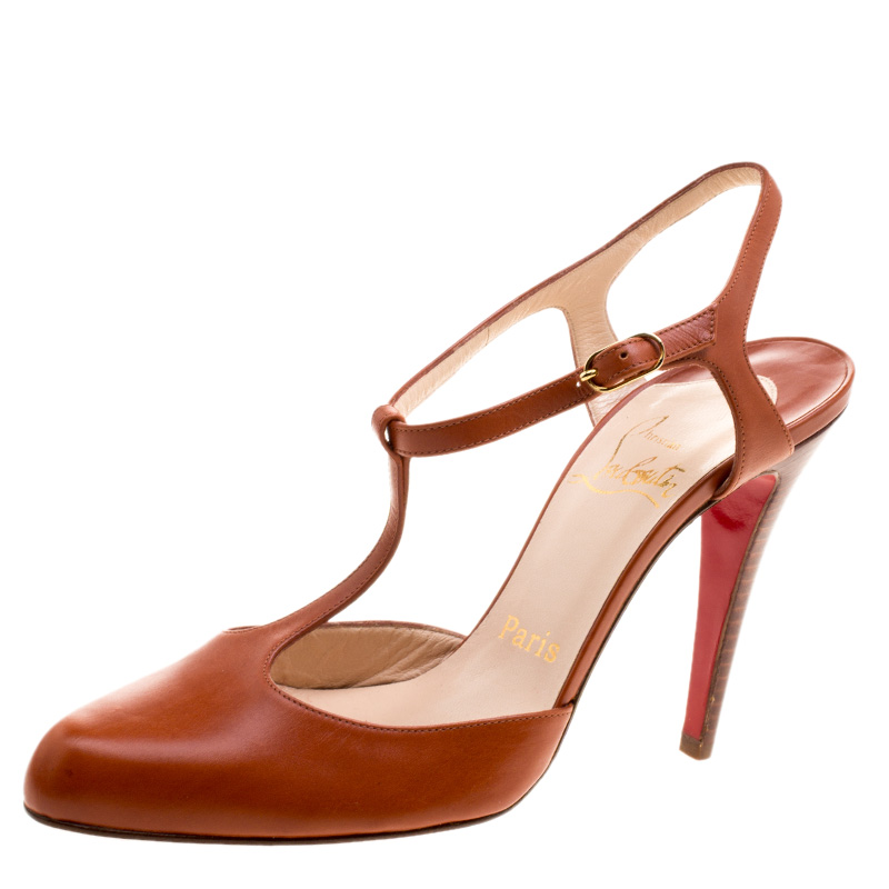 4b81ab5aeff6 Buy Christian Louboutin Copper Leather Me Pam T Strap Sandals Size ...
