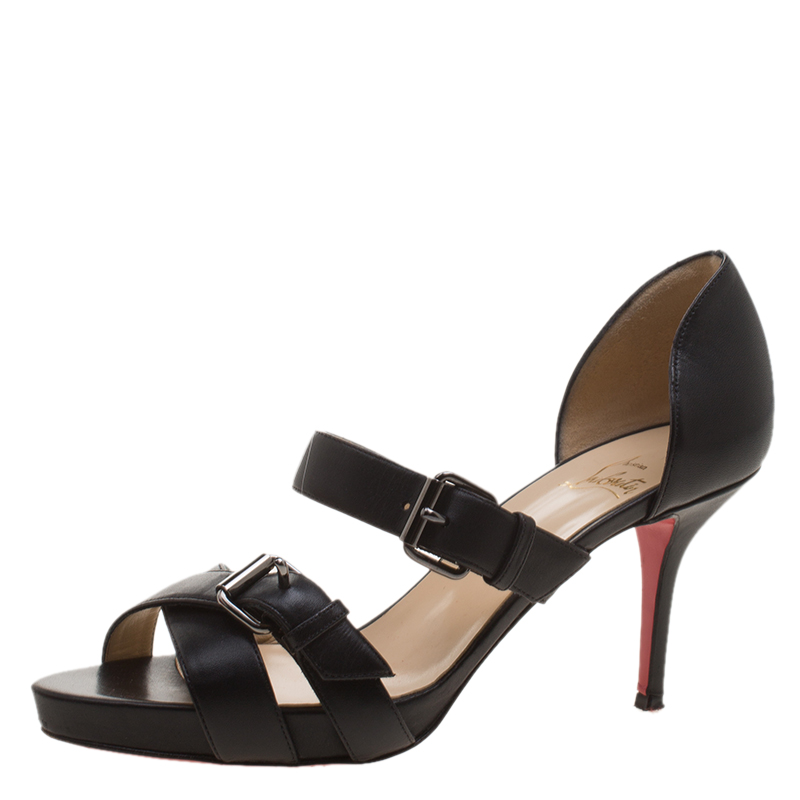 1ffaab7d1f8ca ... Christian Louboutin Black Leather Sandals Size 37.5. nextprev. prevnext