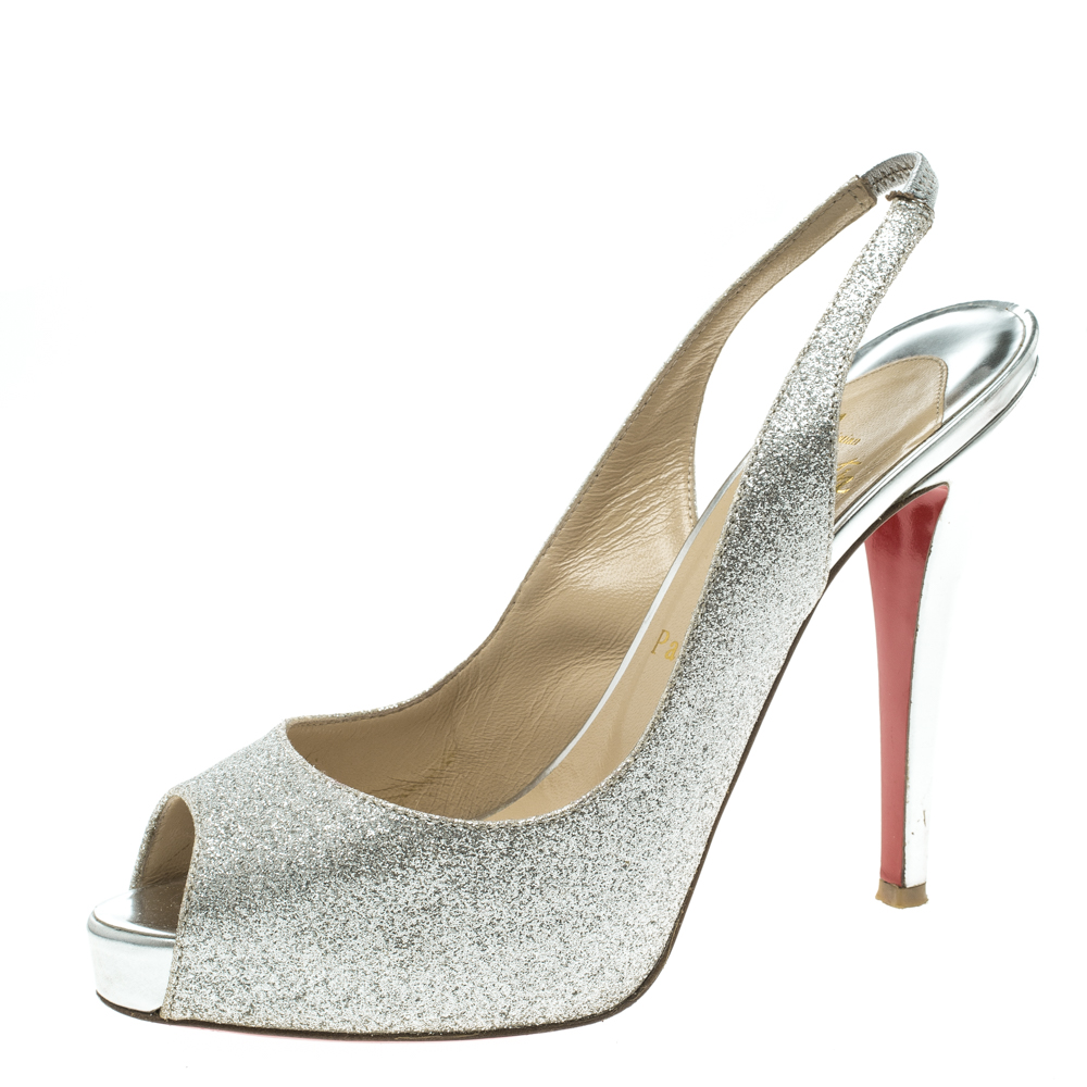 dc4e99c99dff ... Christian Louboutin Silver Glitter Leather N°Prive Peep Toe Slingback  Sandals Size 38.5. nextprev. prevnext
