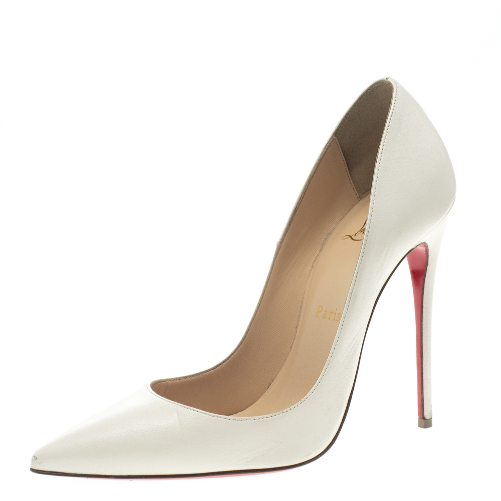 ccd3e05f5ed Christian Louboutin White Leather So Kate Pumps Size 37