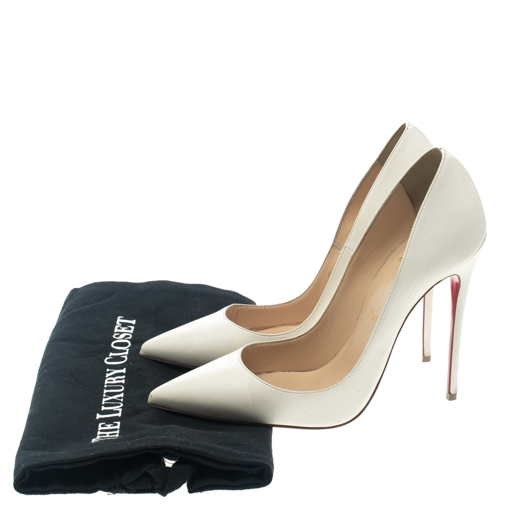 reputable site 9bae6 50008 Christian Louboutin White Leather So Kate Pumps Size 37