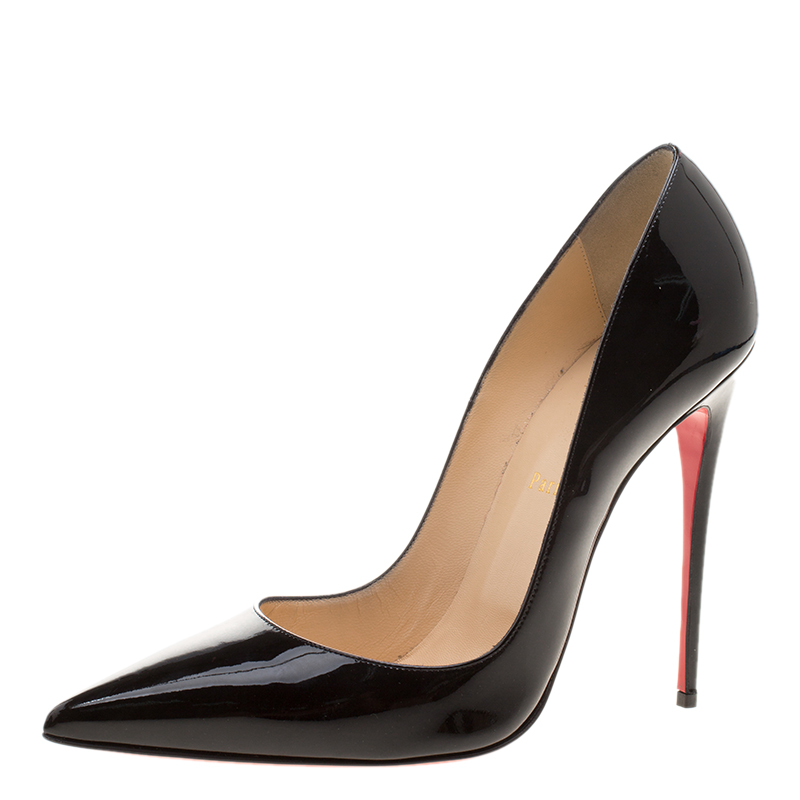 64160e051fc Christian Louboutin Black Patent Leather So Kate Pointed Toe Pumps Size 41