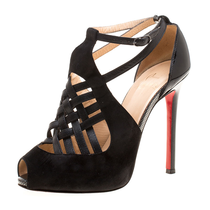 336b68bb7f0 ... Christian Louboutin Black Suede and Braided Leather Carlota Cut Out Peep  Toe Sandals Size 37. nextprev. prevnext