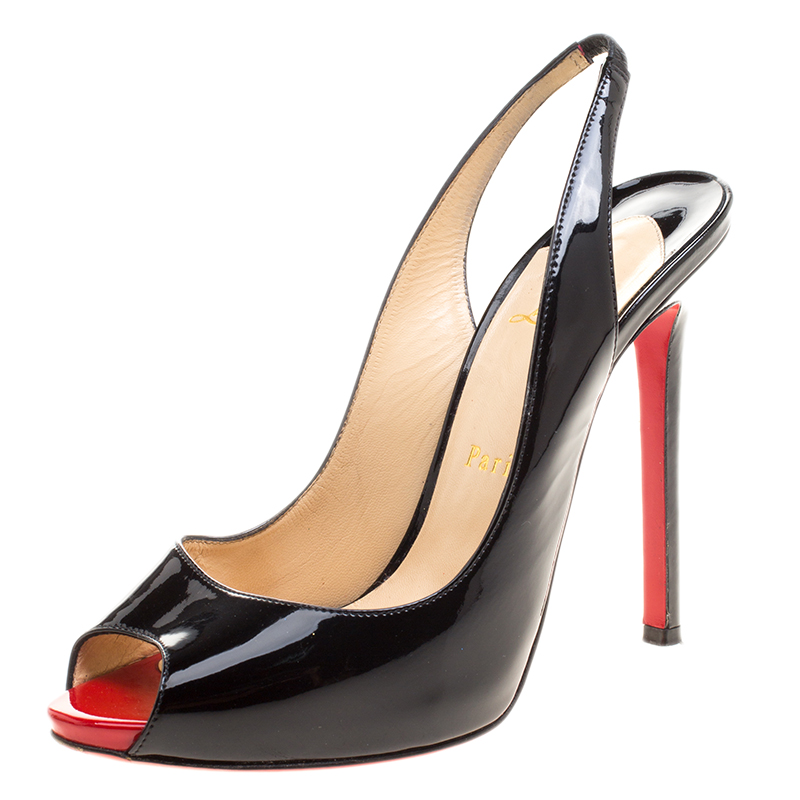 detailed look 09f41 5ebd0 Christian Louboutin Black Patent Leather Flo Peep Toe Slingback Sandals  Size 38
