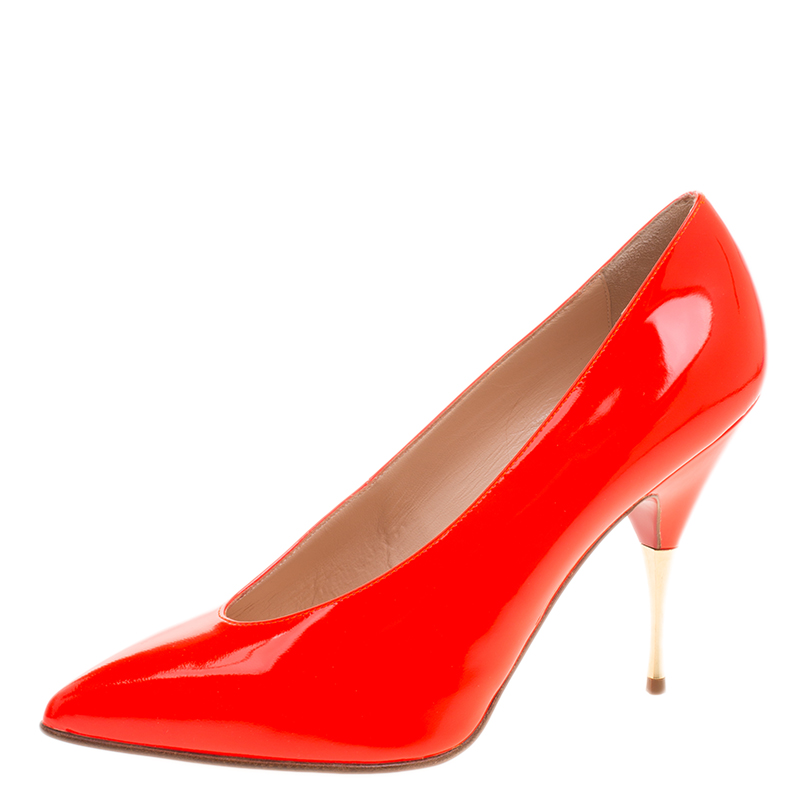 6028bf0d798 Buy Christian Louboutin Neon Orange Patent Leather Lola 100 Pumps ...