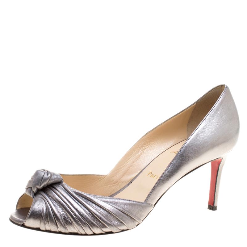 da868e9b3ae Christian Louboutin Silver Leather Knot Peep Toe Pumps Size 40