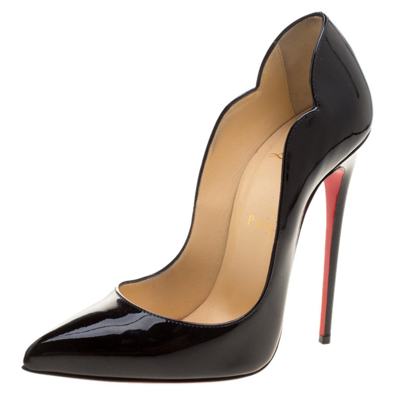 the latest 3dd82 d9678 Christian Louboutin Black Patent Leather Hot Chick Scalloped Trim Pointed  Toe Pumps Size 39