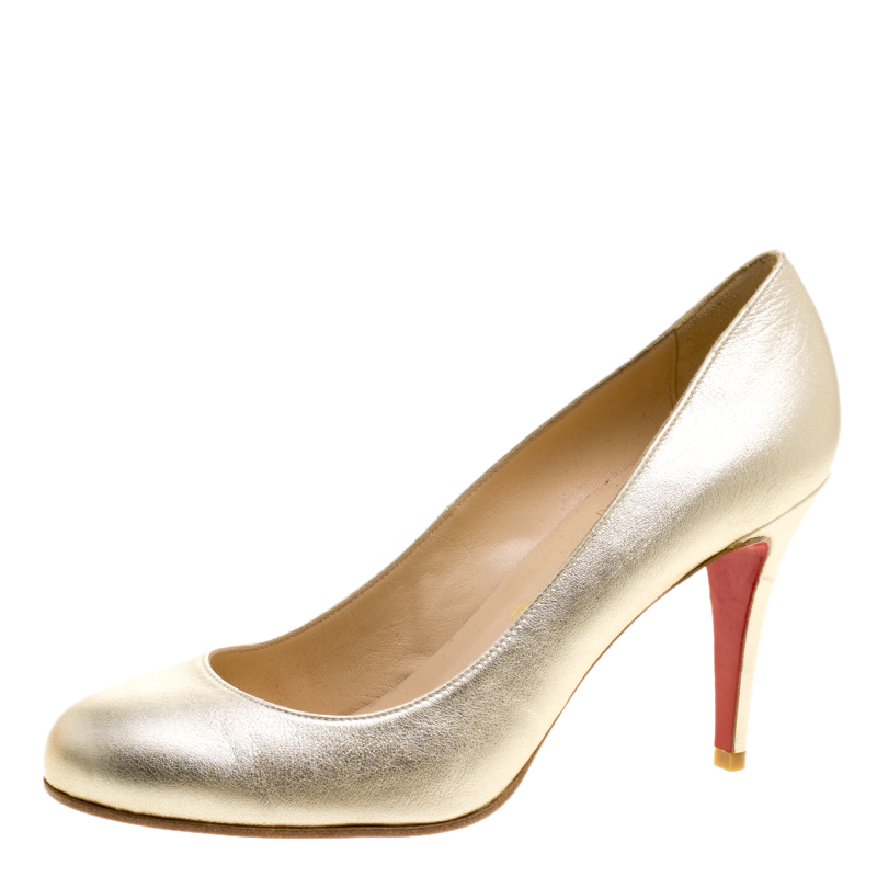 cheap for discount 36389 5df08 Christian Louboutin Metallic Gold Leather Ron Ron Pumps Size 38