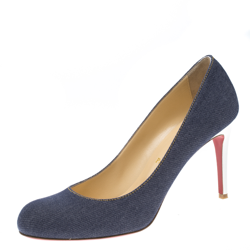 best website 4f553 5ce1b Christian Louboutin Blue Denim Simple Pumps Size 41