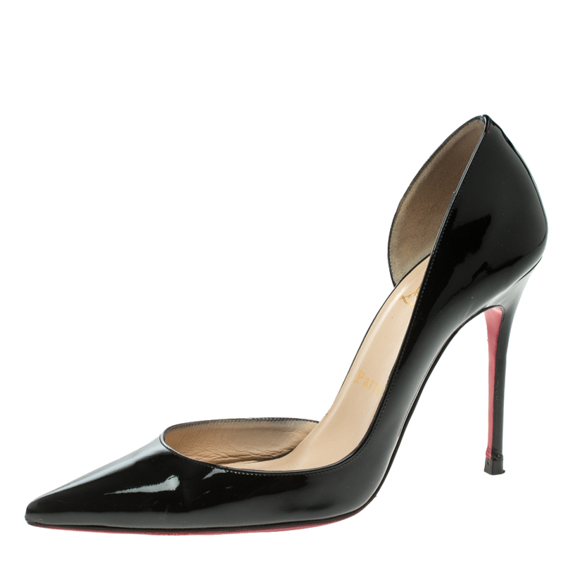794a6edd77 ... Christian Louboutin Black Patent Leather Iriza D'orsay Pumps Size 37.5.  nextprev. prevnext
