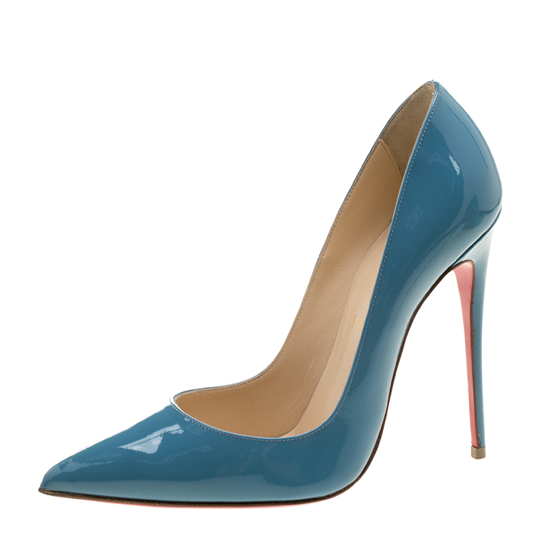 dc00ea4fe1d Christian Louboutin Light Blue Patent Leather So Kate Pumps Size 38