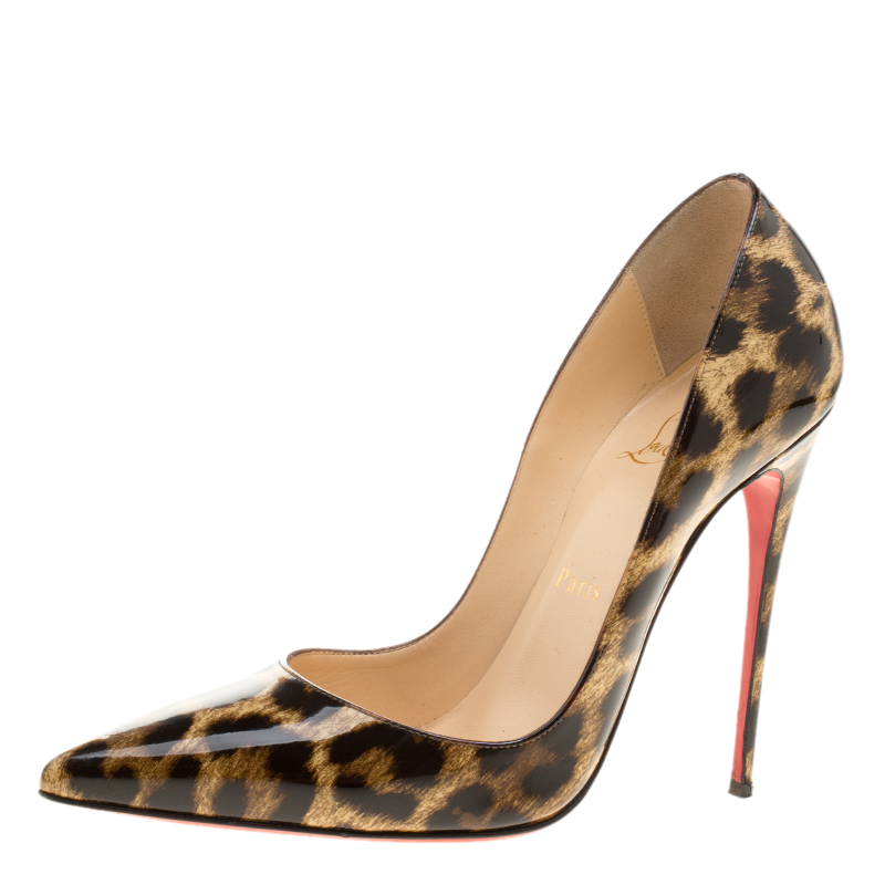 8ab3416dbddc Buy Christian Louboutin Beige Leopard Print Patent Leather So Kate ...