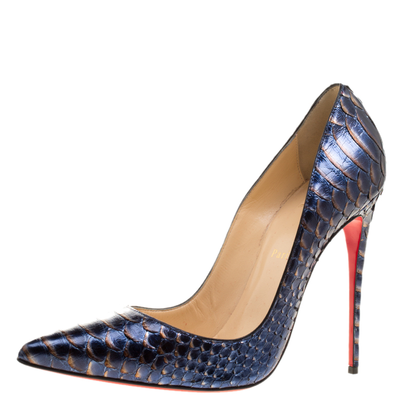 b57c705b69d Christian Louboutin Metallic Blue Python So Kate Pumps Size 41
