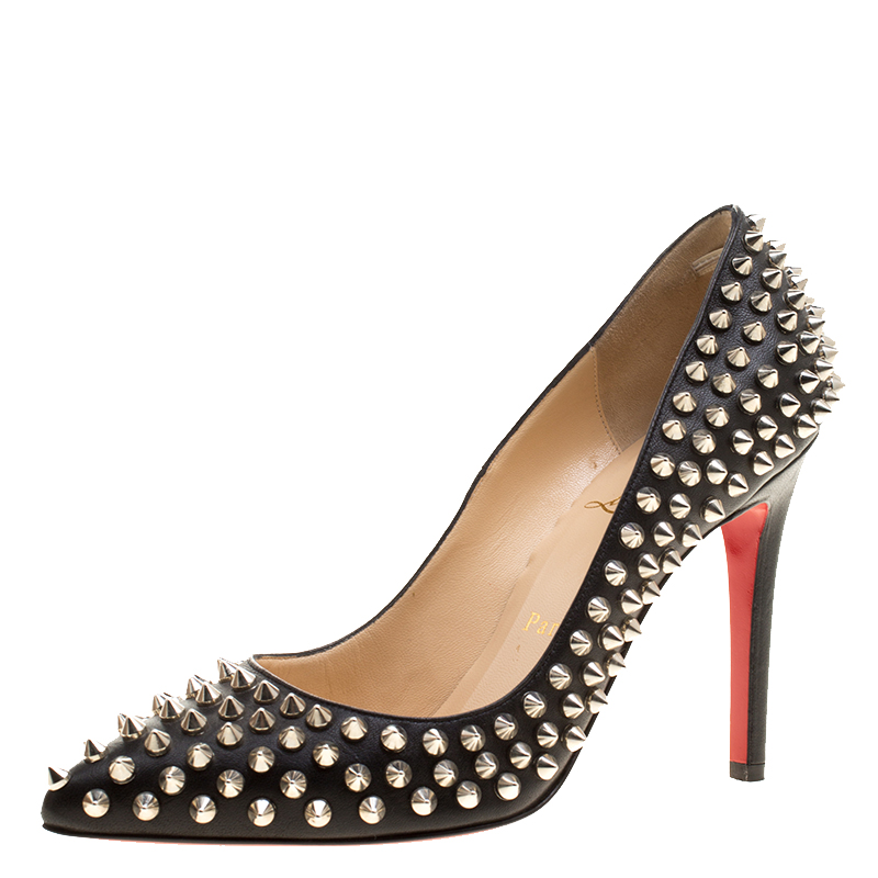 40261c0d117 Buy Christian Louboutin Black Leather Pigalle Spikes Pumps Size 37 ...