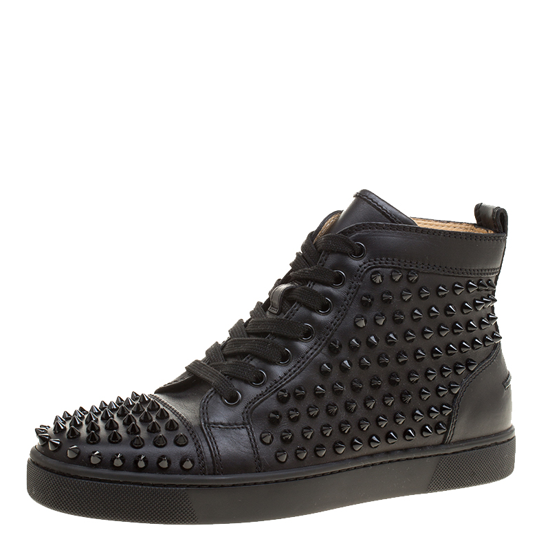121330f8ff9 Christian Louboutin Black Leather Louis Spikes High Top Sneakers Size 39