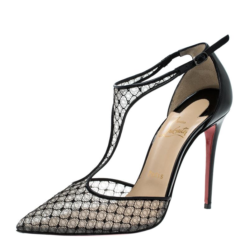buy popular ee8ad 5e667 Christian Louboutin Black Lace T-Strap Salonu Sandals Size 37.5