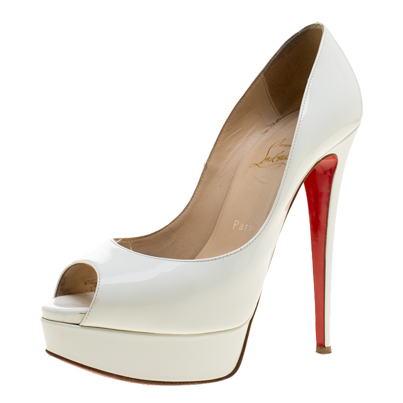 9647a04bab7 Christian Louboutin White Patent Leather New Very Prive Peep Toe Platform  Pumps Size 38.5