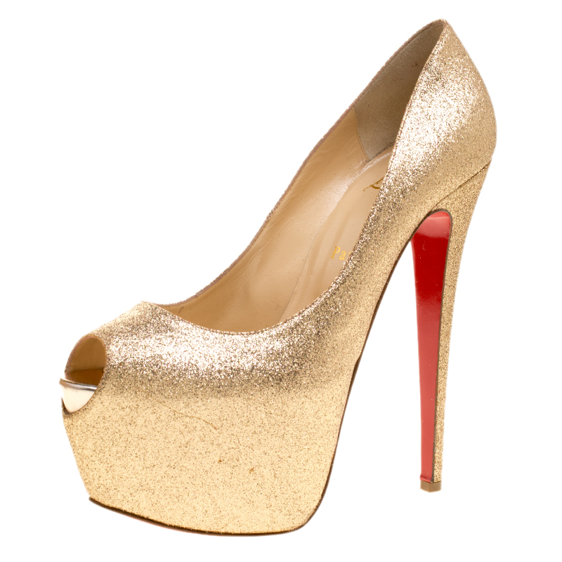 a807ffd6ee17 ... Christian Louboutin Gold Glitter Lady Peep Toe Platform Pumps Size  40.5. nextprev. prevnext