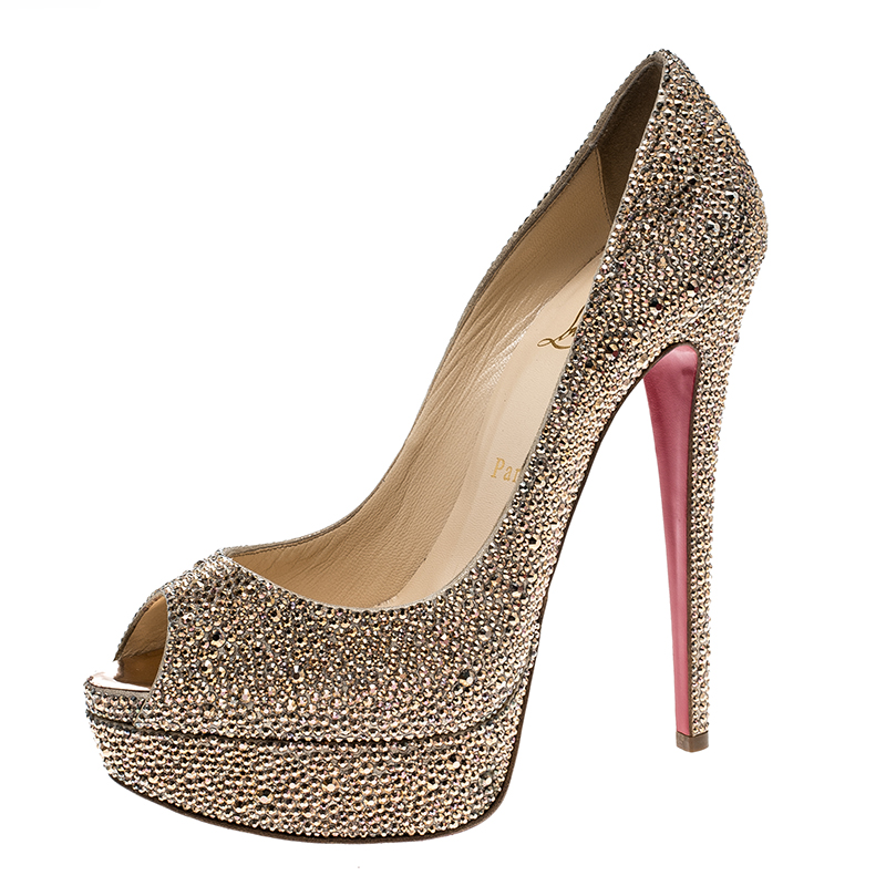 purchase cheap b0c0f 05848 Christian Louboutin Gold Crystal Embellished Lady Peep Toe Platform Pumps  Size 38