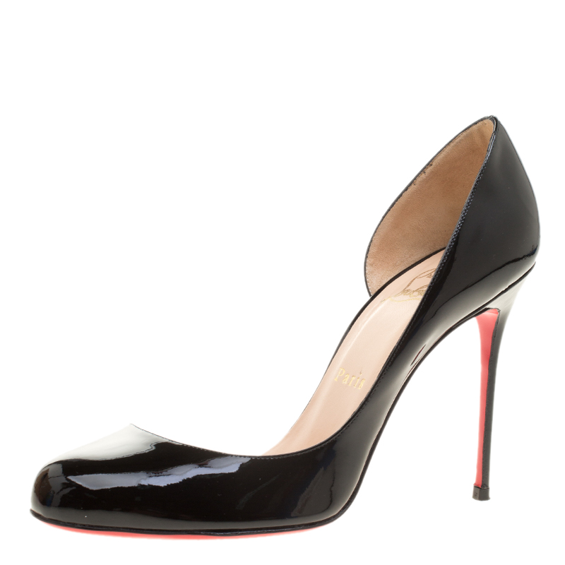 cheaper 8503b fa0a4 Christian Louboutin Black Patent Leather Helmour D'orsay Pumps Size 38