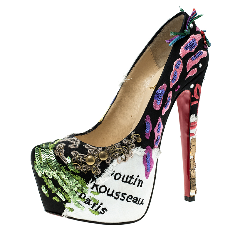 03c5bf31370 Christian Louboutin Limited Edition Daffodile Brodee Crepe Satin Pumps Size  35