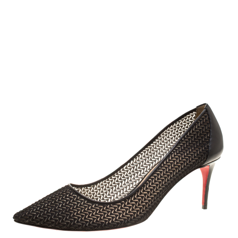 0b286a77eed Buy Christian Louboutin Black Chevron Mesh Saramor Maille Pointed ...