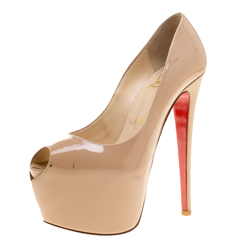 buy popular 3dc30 731e6 Christian Louboutin Beige Patent Leather Highness Peep Toe Platform Pumps  Size 36.5