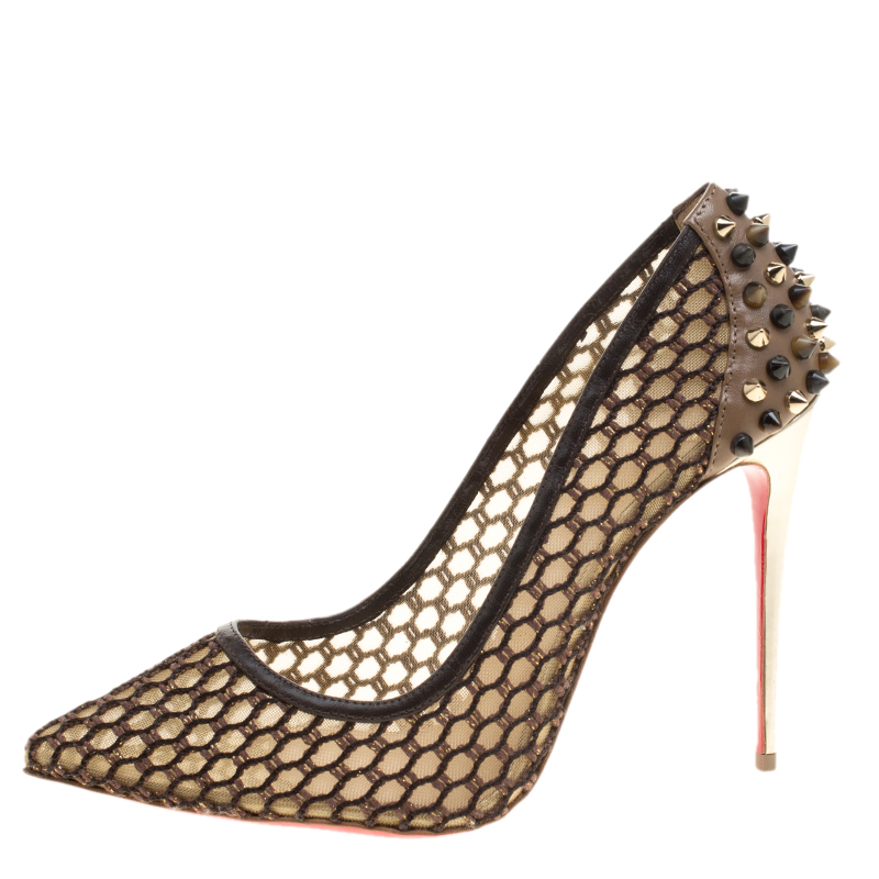 best service 7040f f64f2 Christian Louboutin Brown Mesh and Spike Embellished Leather Trimmed Guni  Pointed Toe Pumps Size 38.5