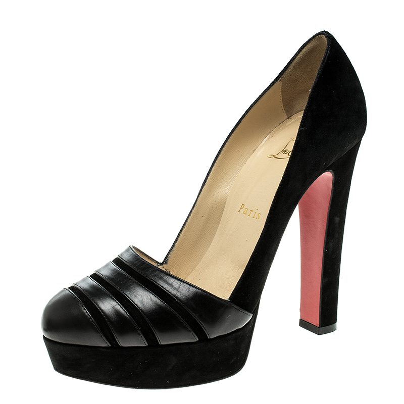 Buy Christian Louboutin Black Suede and Leather Viva Bella Platform ... edbef6c98