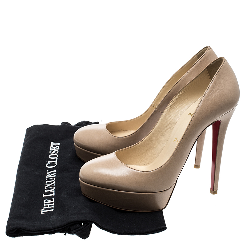 outlet store 8a0f2 25cde Christian Louboutin Beige Leather Bianca Platform Pumps Size 38.5