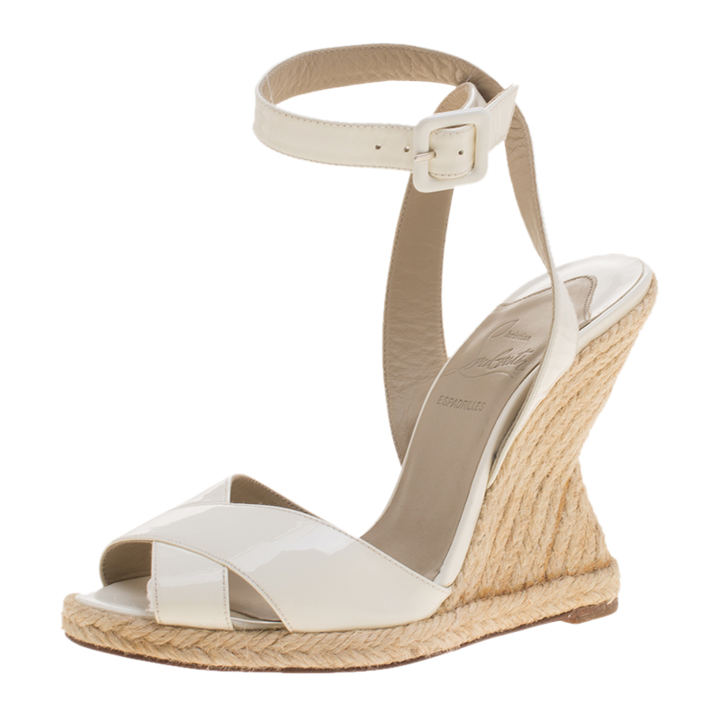 f103af5e59b Christian Louboutin White Leather Love Ankle Wrap Peep Toe Espadrille Wedge  Sandals Size 35
