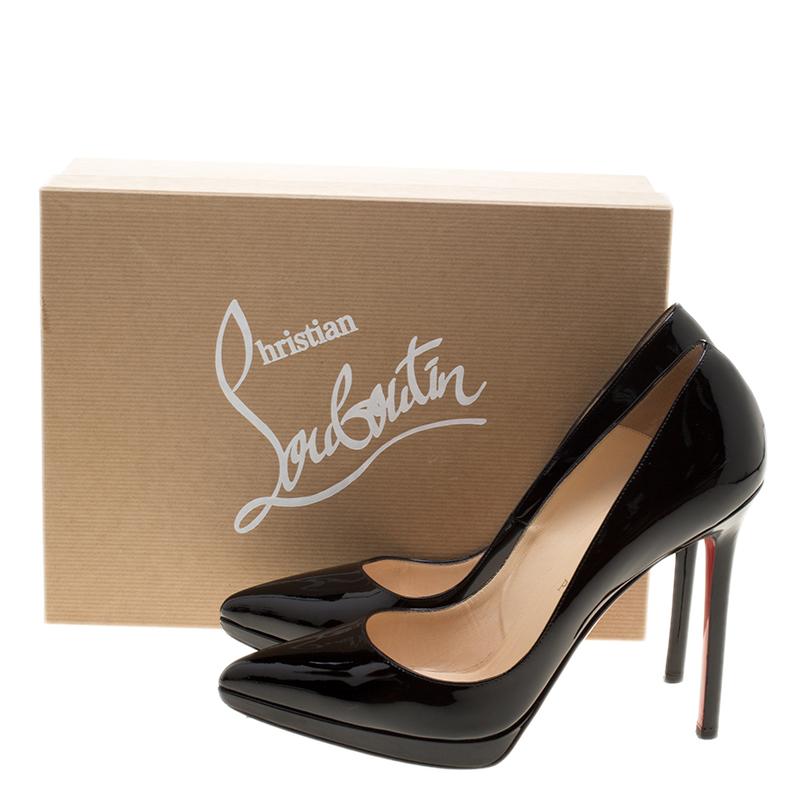 official photos 60578 6166b Christian Louboutin Black Patent Leather Pigalle Plato Pumps Size 39