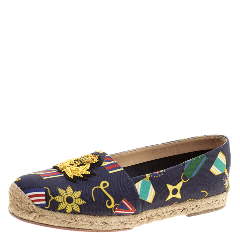 new product 4b125 86887 Christian Louboutin Navy Blue Medal Printed Canvas Galia Espadrille Flats  Size 37