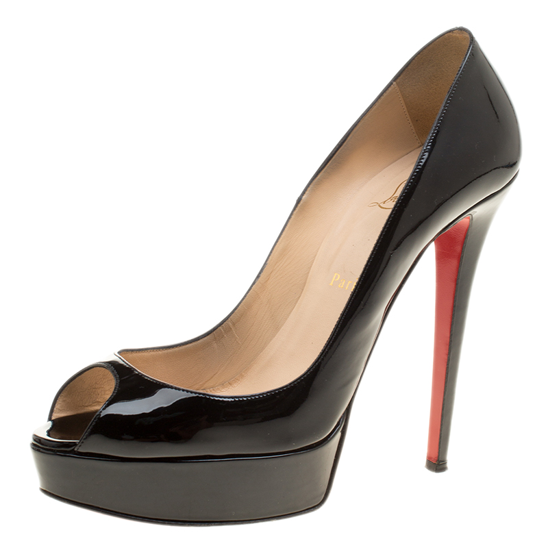 5f96517983 ... Christian Louboutin Black Patent Leather Lady Peep Toe Platform Pumps  Size 40. nextprev. prevnext