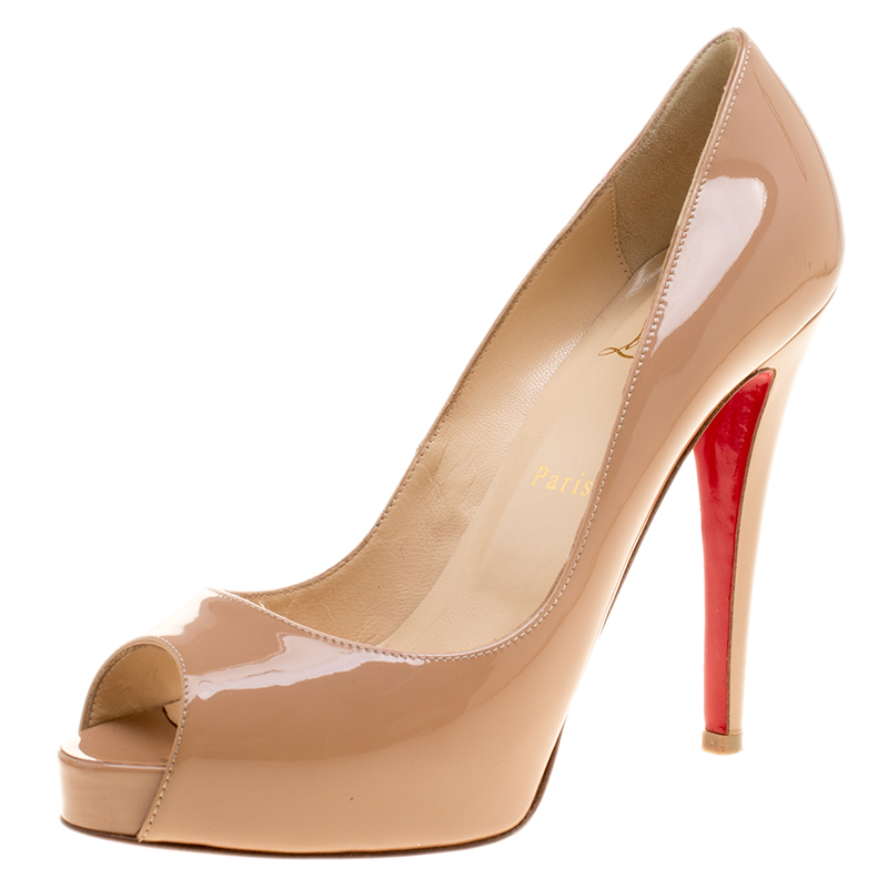 the latest 4936a 15b3b Christian Louboutin Beige Patent Leather Very Prive Peep Toe Pumps Size 38.5