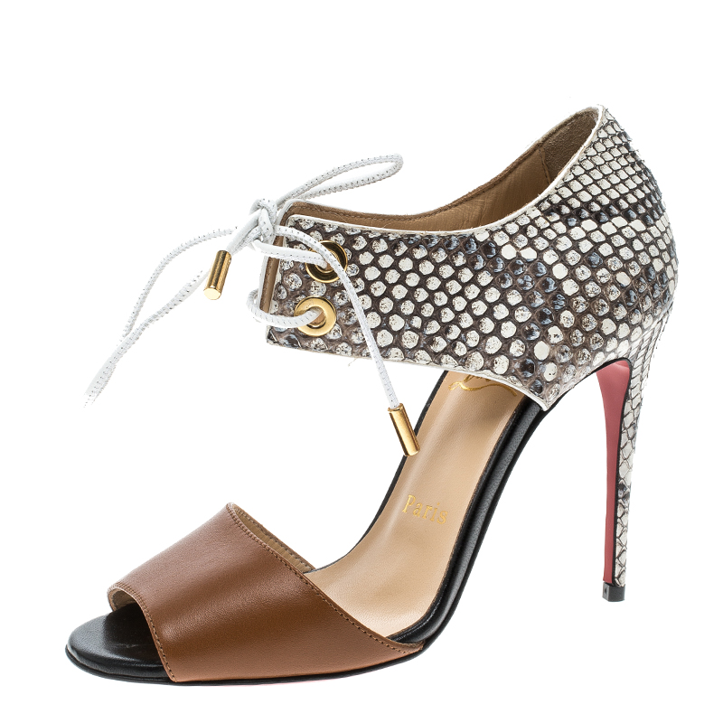 c98e670f0c36a6 Christian Louboutin Two Tone Python Leather Mayerling Lace-Up Sandals Size  35