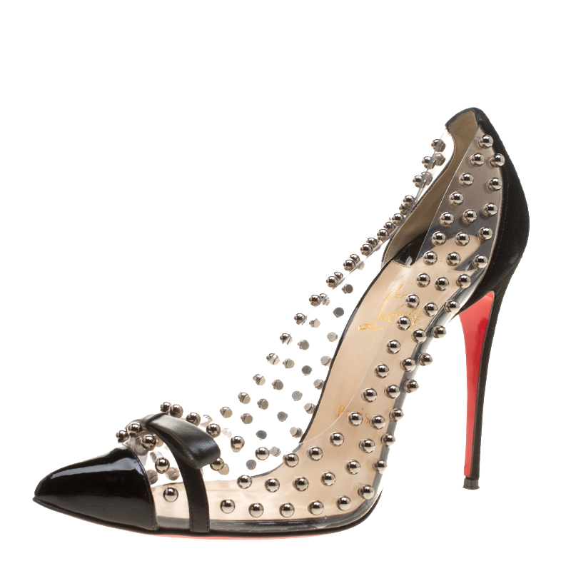 outlet store 28498 8f907 Christian Louboutin Black Studded PVC and Suede Bille Et Boule Bow Pointed  Toe Pumps Size 40.5