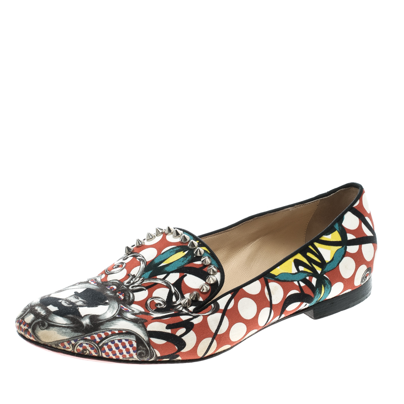 Christian Louboutin Multicolor Printed Fabric Smoking Slippers Size 38.5