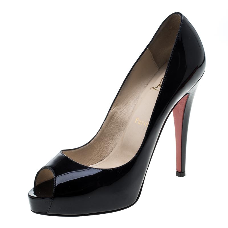 Christian Louboutin Black Patent New Very Prive Peep Toe Platform Pumps Size 38