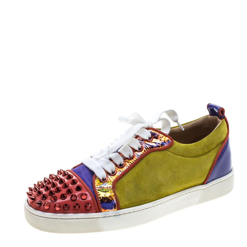 buy popular 60d67 b55d6 Christian Louboutin Multicolor Suede and Patent Leather Louis Junior Spikes  Sneakers Size 36