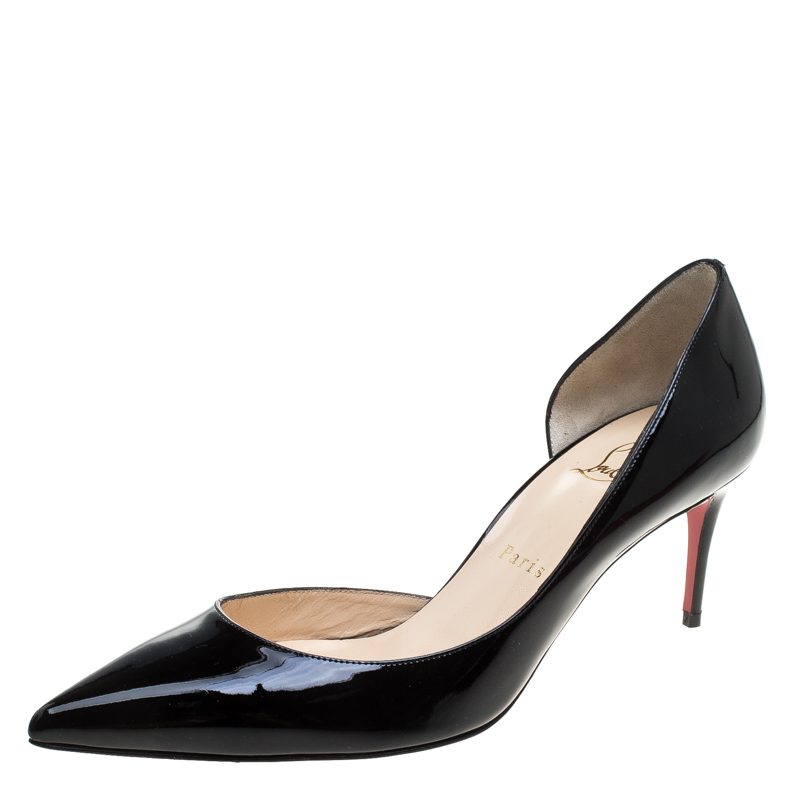 4a6e403814 ... Christian Louboutin Black Patent Leather Iriza D'orsay Pointed Toe Pumps  Size 38.5. nextprev. prevnext