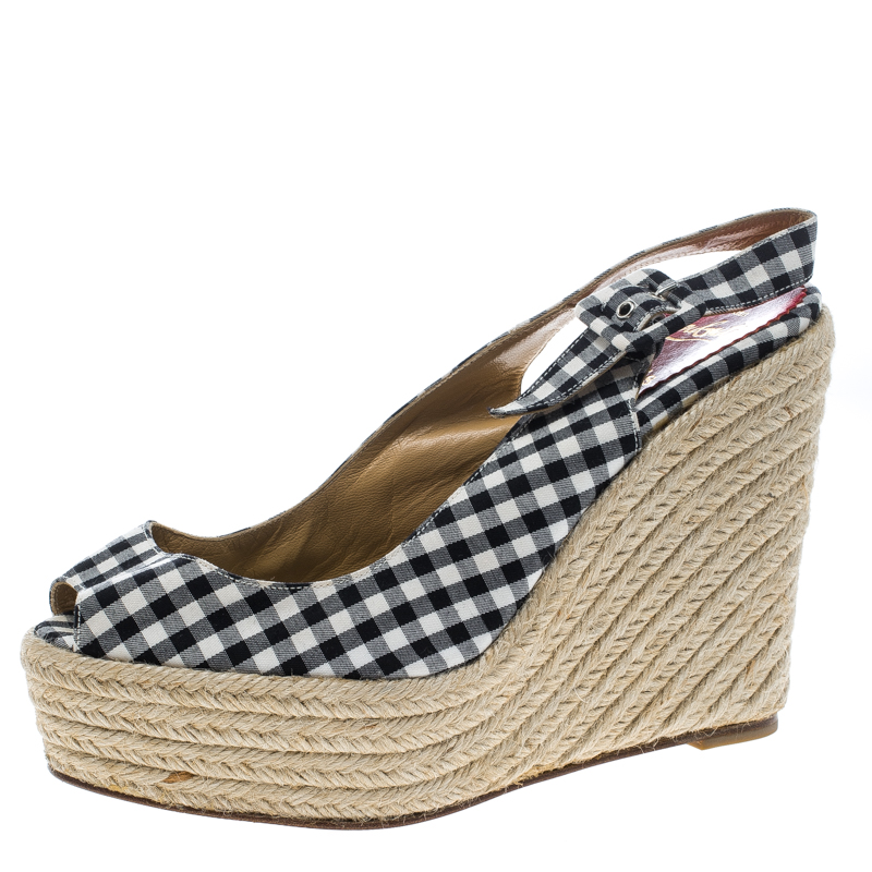 1818707ff95 Christian Louboutin Black Canvas Menorca Gingham Espadrille Wedge Sandals  Size 39