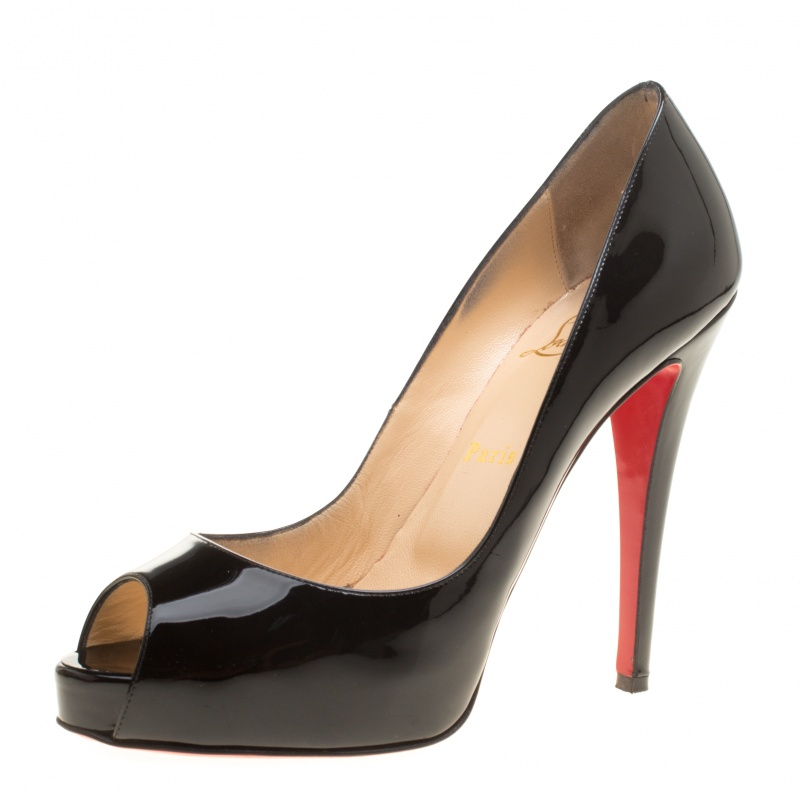 a63a506d2c81 Buy Christian Louboutin Black Patent Leather Hyper Prive Peep Toe ...