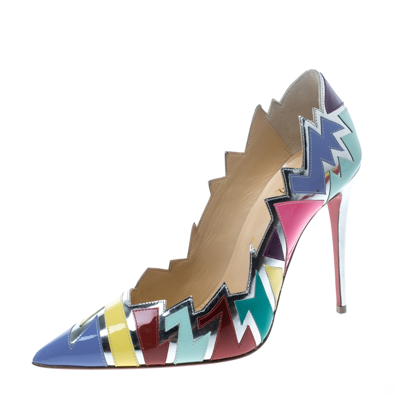 huge selection of eb12f 2bc98 Christian Louboutin Multicolor Jagged Leather Explotek Pointed Toe Pumps  Size 38.5