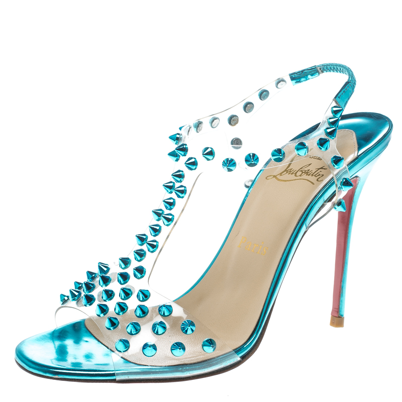 new products 48051 1652f Christian Louboutin Turquoise Spiked PVC J-Lissimo T Strap Sandals Size 37