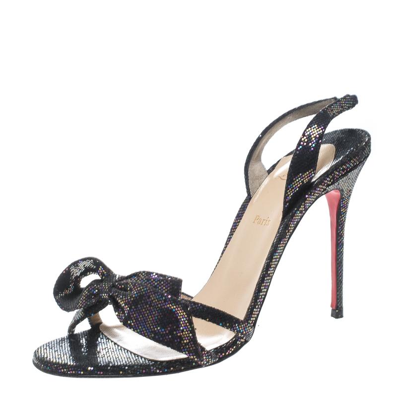 5e00bf15592 ... Christian Louboutin Black Glitter Grusanda Bow Sling Back Spotlight  Sandals Size 38. nextprev. prevnext