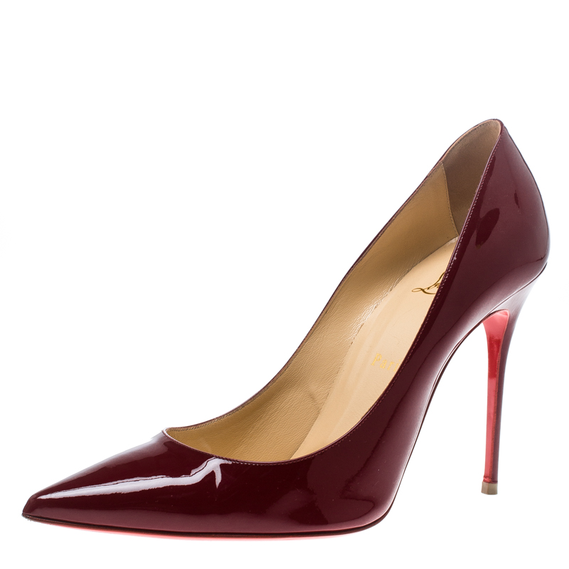 2558760adf8 Christian Louboutin Carmin Red Patent Leather Decollete Pointed Toe Pumps  Size 40.5