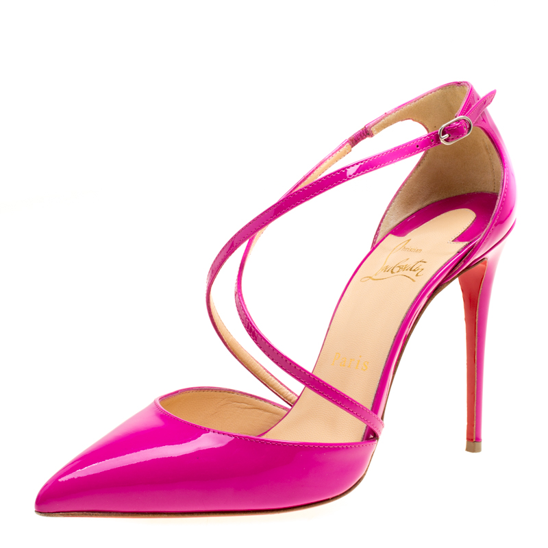 ab2891043b1 Christian Louboutin Pink Patent Leather Cross Blake Pointed Toe Sandals  Size 38