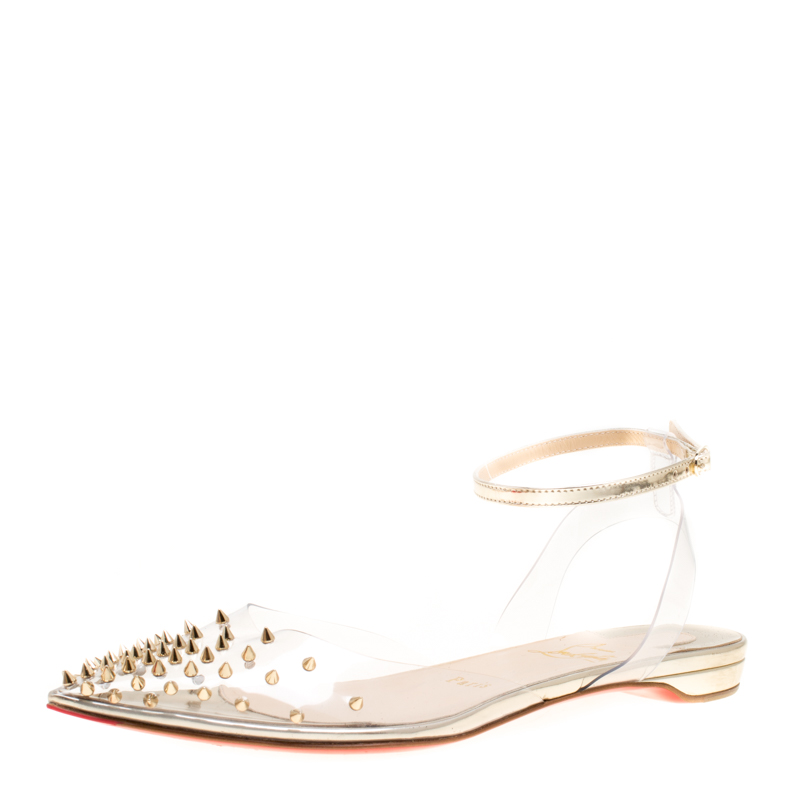 18a75a9669d Buy Christian Louboutin PVC and Metallic Gold Leather Spikoo Ankle ...